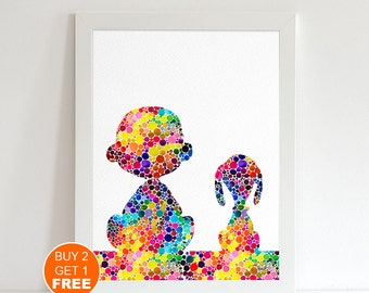 Snoopy Charlie Brown watercolor illustration art print,  Snoopy art, The peanuts movie, art print, movie art, Children, Christmas