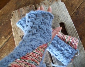 Cosy Hand Knit Gauntlets/Mitts/Arm Warmers