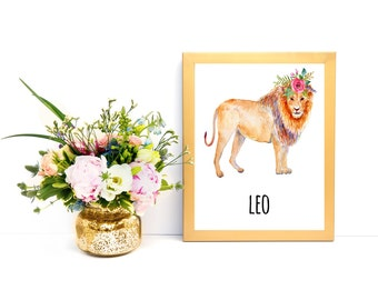 Illustrated Print Lion print Leo Zodiac Leo Print Leo Poster Leo Decor Leo Wall Art Leo Sign DOWNLOAD PRINTABLE Art print Gift Nursery