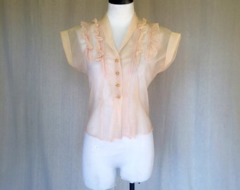 SALE Vintage 1950s Sheer Blouse