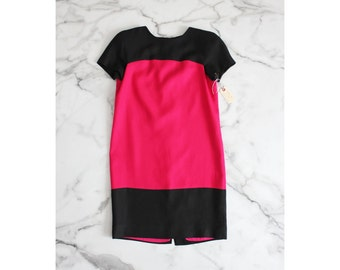 color block dress / hot pink and black dress / color block dress
