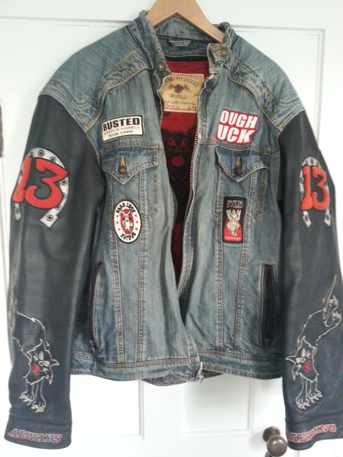 Icon Moto Strongarm Leather Jean Jacket Lucky 13 Tough Luck