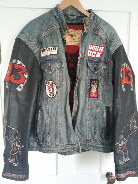 Icon Moto Strongarm Leather Jean Jacket Lucky 13 Tough Luck