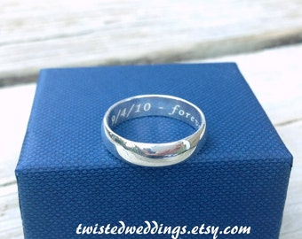 Personalized Sterling Silver wedding band custom hidden message engraved names dates