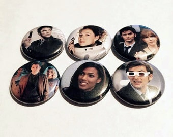 10th Doctor & Companions Button Set (6 Pack) - Doctor Who