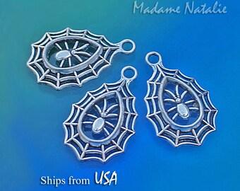 Spider Web Pendant (3), Halloween Pendants Charms, Tibetan Silver Spider Web Pendants, Teardrop Spider Web Pendant, Spider Web Jewelry