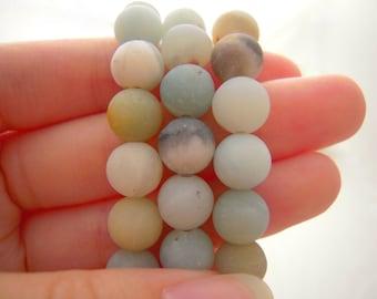 Amazonite, Matte Amazonite, Amazonite Beads, Natural Gemstones, 8mm Beads, 8mm Amazonite Beads, Multicolor Beads, Beautiful Beads, Gemstones