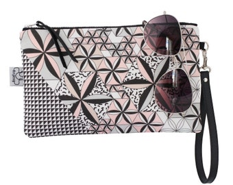 Printed Clutch/Original ANJESY Designs/Wristlet/Leather strap/Braidesmaids gift.