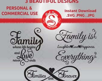 3 Family Quotes - Cutting File – SVG, DXF, PDF, jpg, png , Personal & Commercial Use, Family Clipart, Family Sayings Wall Art