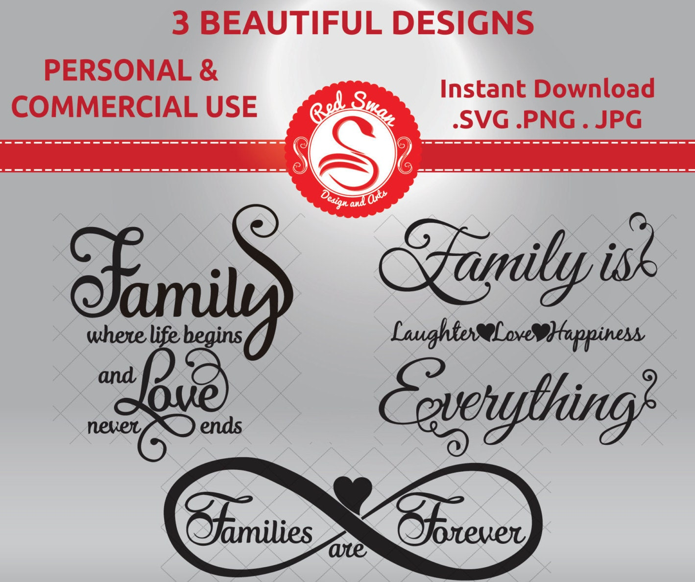 Family Is Everything Forever: SVG, DXF, PDF, Jpg, Png