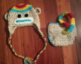 sock monkey set, baby sock monkey outfit,  sock monkey hat