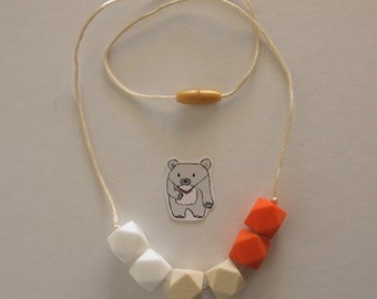 Orange cream hexagon silicone necklace