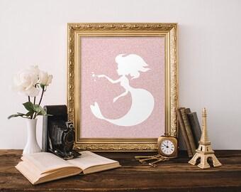 Mermaid Print, Instant Download, Mermaid Wall Art, Nursery Mermaid Print, Pink Nursery, Glitter, Mermaid Theme Nursery Teen Room