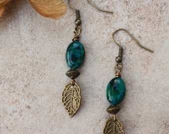 Green Australian jasper with antiqued bronze charms wire wrapped earrings