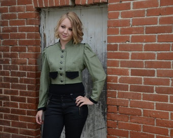 Green Military Steampunk Jacket with Coattails