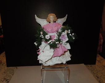 1980's Paper Mache Angel Tree Topper or Tabletop Decoration