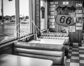 Historic Route 66 Photography - Black and White Photography, Classic American Diner, Roadside, The Mother Road, Americana