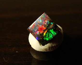 Heart on Fire / 1.5 Cts / Bright Red Square Carved Boulder Opal Cabochon / Precision Cut / 6.75 x 6.70 x 3.14 mm