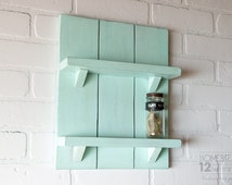 Wall Spice Rack, Robin Egg Blue - Small Shelves - Kitchen Storage - Rustic Shelves - Farmhouse Decor - Bathroom Storage - Housewarming Gift