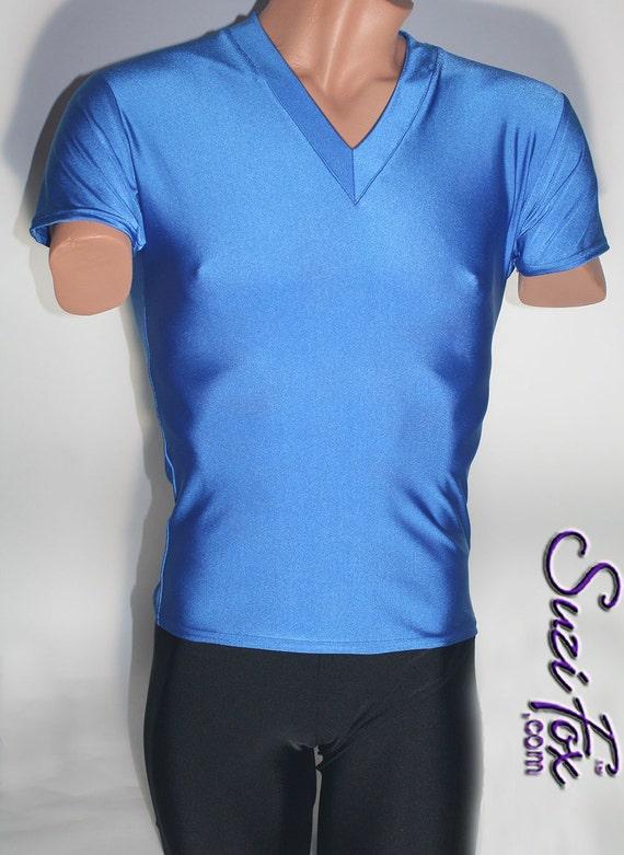 Mens skin tight v neck short sleeved tee shirt in milliskin for Tight collar t shirts