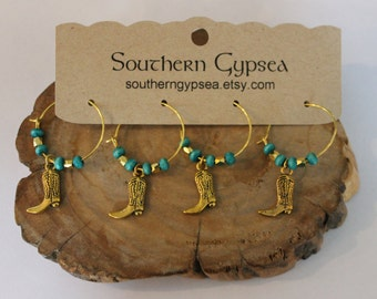 Cowboy Boot Wine Glass Charms