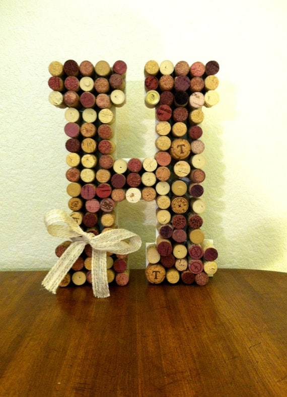 Items similar to wine cork letter h wine theme shower for Decorating with wine corks