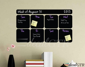Chalkboard Weekly Calendar Decal - chalkboard weekly planner - chalkboard decal wall sticker - 13x22 or 20x35 - black chalk board vinyl C027