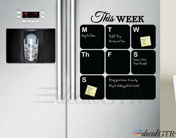 Weekly Refrigerator Calendar : Fridge chalkboard decal weekly planner organizer