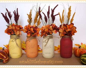 Fall Mason Jar-Fall Vases-Thanksgiving Décor-Home Decor-Wedding Centerpieces-Rustic-Country-Set of 4 Quart Size Painted Mason Jars