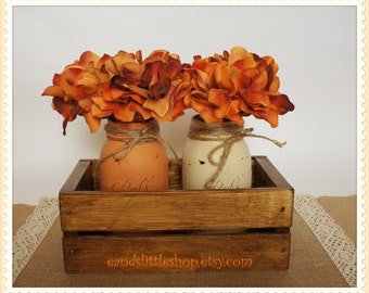 Fall Rustic Planter Box with 2 Painted Mason Jars-Wooden Planter Box-Thanksgiving Décor-Fall Wedding Décor-Rustic Home Decor-Fall Décor-Vase