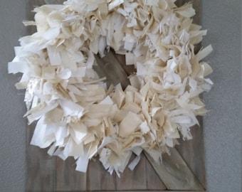 Shabby Chic decor - neutral home decor - muslin wreath.