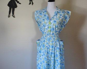 Vintage 1960's Floral Dress / 60s Day Dress L/XL  tr