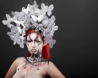 Silver & white butterfly headdress