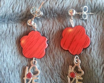 Love flower earrings