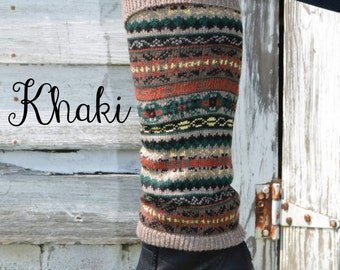 Women's Nordic Multicolor Cuffed Leg Warmer Khaki