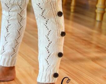 Children's Button Up Lace Top Leg Warmer