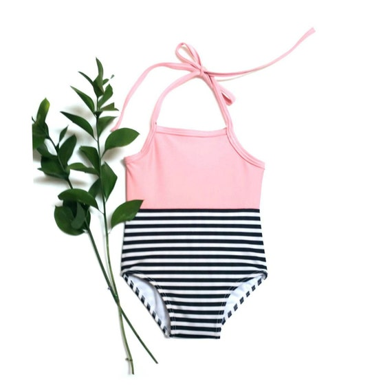 Black and Pink Stripe Baby Swimsuit | Black and White Stripe Infant Swimsuit