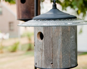 Rustic Birdhouse (Gray) Round, Outdoor Bird House, Reclaimed Wood, Metal Top & Base, Reclaimed Wood, Primitive, Country Reclaimed Birdhouse
