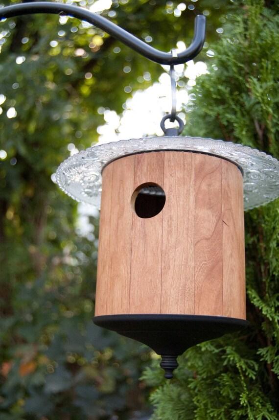 Wood Round Birdhouse Light Brown Reclaimed Pallet Outdoor
