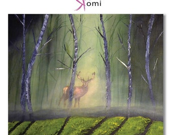 Deer in Forest, 24X20, Acrylic painting, ORIGINAL, Canvas