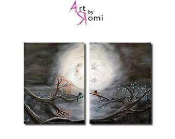 Stay with Me, Bird couple, Love, Moonlight, 12X16 x 2, Acrylic painting, Original, Canvas