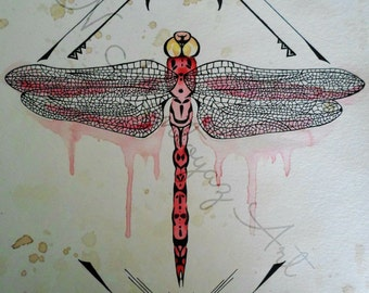 Dragonfly Original watercolor and coffee painting