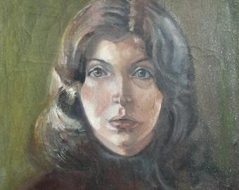 Antique oil painting young woman portrait