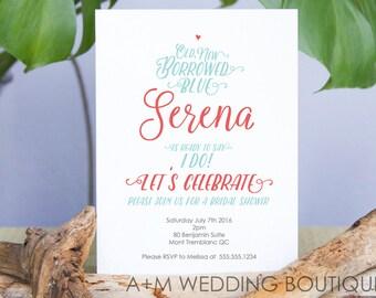 Printable Bridal Shower Invitation, Bride, Wedding Shower, CUSTOMIZED, Serena