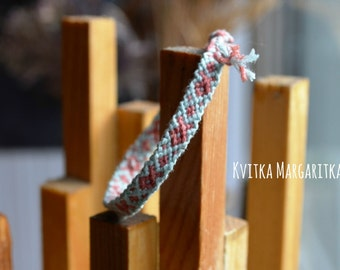 Friendship bracelet woven dust pink sky blue  wristband  boyfriend girlfriend gift. best friend gift.