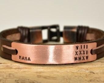 FAST SHİPPİNG, Mens Bracelet, Leather For Men Bracelet, Men Personalized Bracelet, Custom Bracelet, For Mens Gift Bracelet, Brown Bracelet