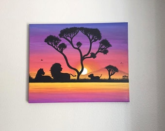 Custom African Sunset w/Lion Family Painting --- Made To Order