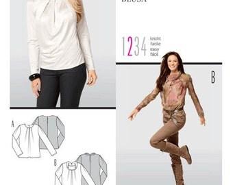 Burda sewing pattern - neckline detail blouse - Size 10-12-14-16-18-20