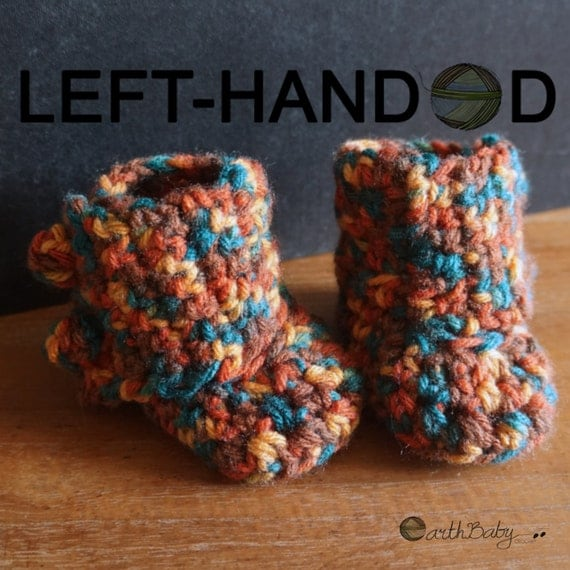 Crochet Patterns Left Handed : LEFT-HANDED Crochet Pattern for Baby Booties Wrap-around Bobble Boots ...