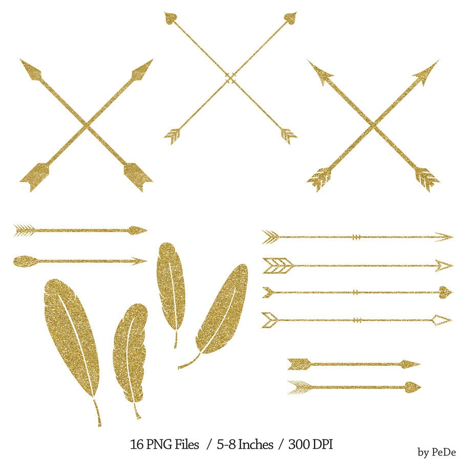 BUY 3 FOR 6 USD Gold glitter arrows and feathers clip art
